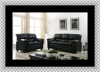 Black bonded sofa and loveseat 46 km