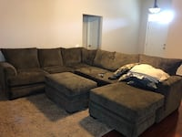 Gray suede sectional couch with ottoman Milton, 32583