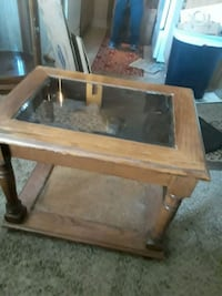 2 brown wooden framed glass top coffee table Oklahoma City, 73108
