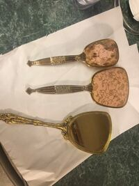 vintage-Hairbrush-And-Hand-Dresser-Mirror-set and one additional vintage mirror all three for one price. Brush never used   Plainfield, 60544