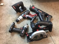 black-and-red Craftsman power tool set