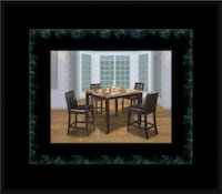 Marble tall table with 4 leather chairs McLean