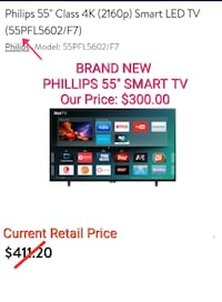 "PHILLIPS 55"" SMART TV BRAND NEW AND PRICE DISCOUNT"