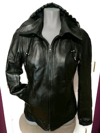 Genuine leather jacket with hoodie ,size S