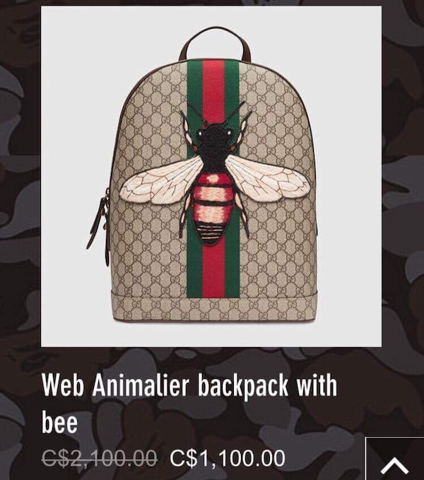 5a99eeebba4 Used brown and red Web Animalier backpack with bee screenshot for sale in  Hamilton