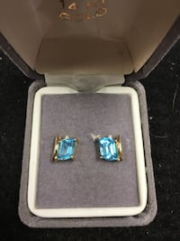 14k Yellow Gold earrings with Blue stones and diamonds Westminster, 21157