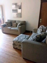 gray fabric sofa set with throw pillows St. Louis, 63111