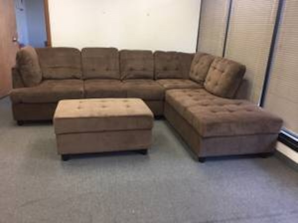 Wondrous New Brown Chenille High End Sectional Couch With Ottoman Lamtechconsult Wood Chair Design Ideas Lamtechconsultcom