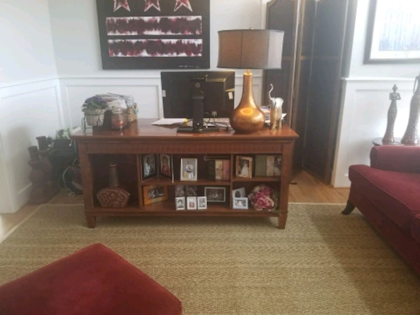 Mahogany wood desk & matching leather bound chair