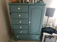 blue wooden 5-drawer tallboy dresser Glastonbury, 06033