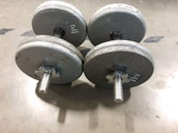 two black-and-gray dumbbells 536 km