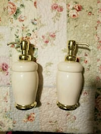 Ceramic ivory & gold Hand soap/lotion dispensers