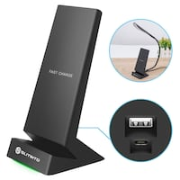 NEW 7.5W Fast Wireless Charging Stand Compatible iPhone X/ 8/8 Plus, 10W Fast Wireless Charger Stand Compatible Galaxy Note 9/8/5 S9/ S9+S8/S8+ with USB Output (with LED Light) Westminster