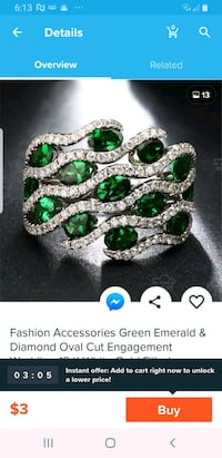 Fashion associations amberlad and diamond green woman  ring Clarksville, 21029