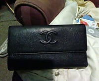 black Chanel leather long wallet