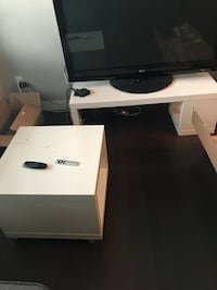 Tv stand and side table. scratches on table, dent in tv stand, wine stains underneath tv stand but unable to see when upright   Calgary, T2Z