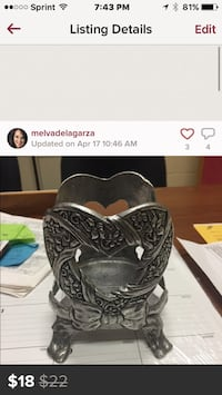 Silver iron candle heart holder perfect for decor Weslaco, 78599