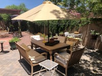 Table , umbrella , 6 chairs , pillows and cushions Surprise, 85379