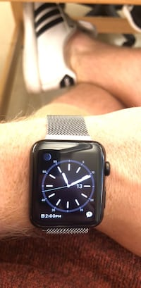 Black and gray Apple Watch series 1 Sterling, 20164