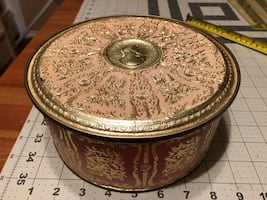 """Beautiful tin  container- Approx 8"""" across-slight imperfection on lid"""