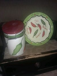 Chili canister and plate Springfield, 65806