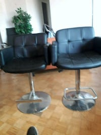 two black leather padded bar stools Mississauga, L5G 3X5