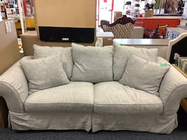 New light grey slip cover sofa