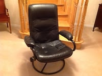 Ottman leather chair and foot stool