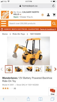 Child's electric ride-on backhoe Calgary, T3J 3H2