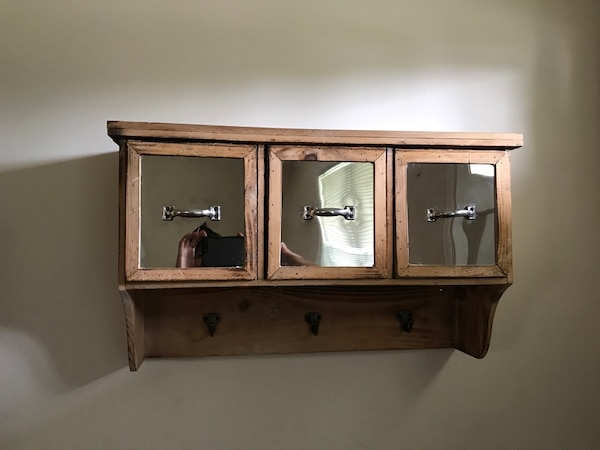 Wood/Rustic Wall Cabinet with hooks 3 drawers