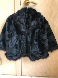 Black Faux fur shawl/ over dress coat Small size