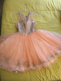 Peach and Gold Dress