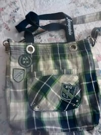 beige, black, and green plaid tote bag