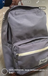 """100$•HERSCHEL large backpack gently used canvas and zippers like NEW just little wear on bottom corners fits 15"""" laptop very practical and comfortable cones free clean smoke free home London, N5W 1C7"""