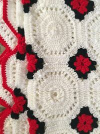 "Afghan throw cover twin bed white red black pattern approx 75"" x 75"""
