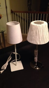 two white table lamps with white lampshades Charlotte, 28262
