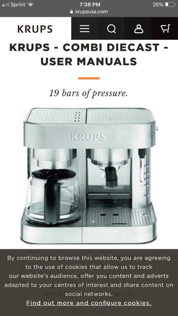 Krups Stainless Steel Combi coffee and Expresso maker ... 998442ed-04d4-4830-acb6-72bb4185ae84