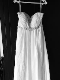 White sweetheart-neck ruched wedding gown Clayton, 19938