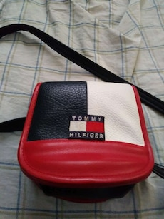 red, black and white Tommy Hilfiger crossbody bag
