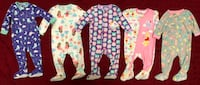 5 Infant Baby One Piece Winter/Warm Girls Pajamas Size: 12 Months $4 Each OR $16 ALL 5 FIRM! LIKE NEW! Firm Price! (Princess, Winnie the Pooh, Owl, Flowers & Birds)  Visalia, 93292