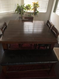 DINING TABLE W/EXTENSION & 4 CHAIRS