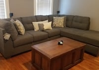 2pc Sectional, Gray. Corner Chaise Sofa Valley Stream
