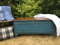 Distressed blue cedar chest, coffee table, hope chest, blanket box Barrie, L4N 9N7