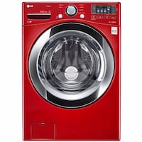 red LG front-load washer