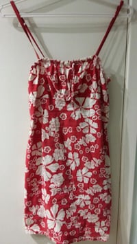 red and white floral spaghetti strap dress 903 km