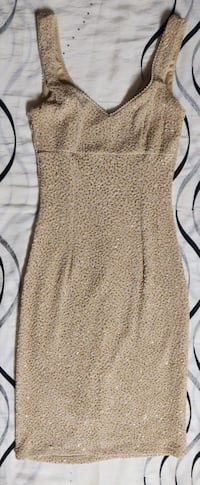 """ MYSTIC"" BEIGE DRESS WITH GOLD SPARKLE. FITTED YET FLEXY. ZIP BACK."