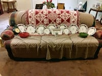 brown and white floral fabric sofa 834 mi
