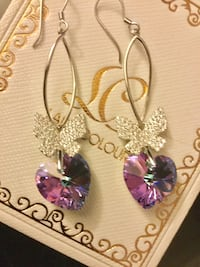 Amethyst gemstone  Hearts and Sterling Silver Cz Butterfly earrings / New Swarovski crystals 39 km
