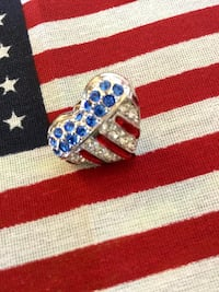 Swarovski crystal Heart - USA Patriotic  pin  / new visit for more jewelry Alexandria, 22311