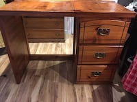 brown solid wood desk with 3 drawers